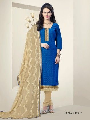 Chanderi Silk Dress Material -blue - Touch Trends Ethnic