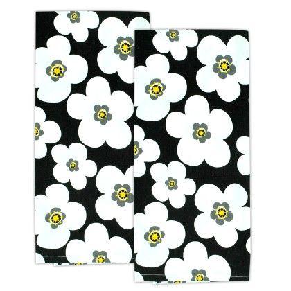 Black Big Blooms Dishtowel Set Of 2 - Design Imports