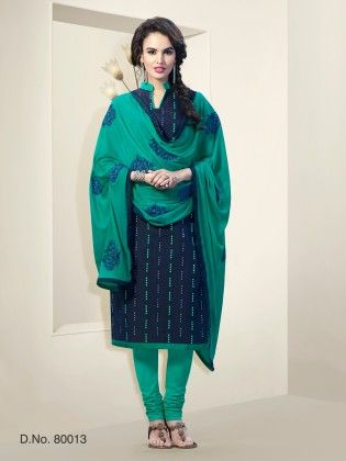 Touch Trends Navy Blue Chanderi Silk Dress Material - Touch Trends Ethnic