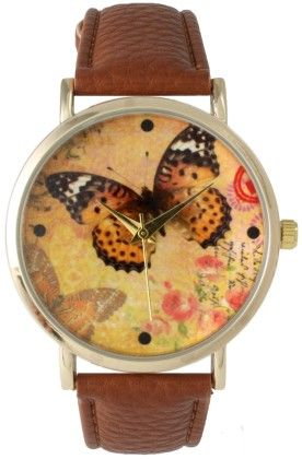 Leather Strap Band Watch With Butterfly Face-conac - Vernier Watches