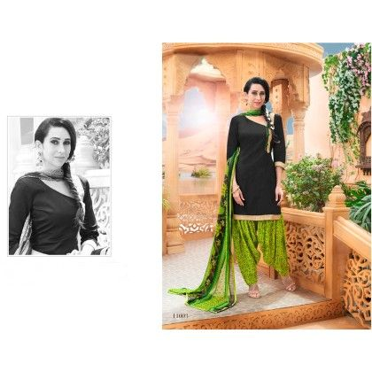Combo Green Black Patiyala Dress Material - Rani Sunday Patiyala
