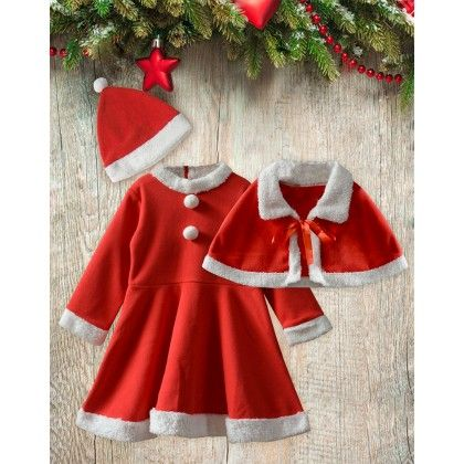 Christmas Plush Full Sleeves Dress With Cape And Beanie Set - Mistletoe