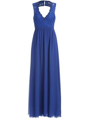 Navy Blue Lace Top V Neck Backless Maxi Dress - She In