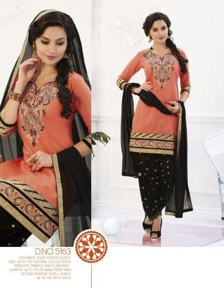 Cotton Patiyala Peach Black Magic Dress Material - Fashion Fiesta