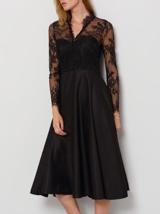 Black V Neck Sheer Mesh Lace Dress - She In