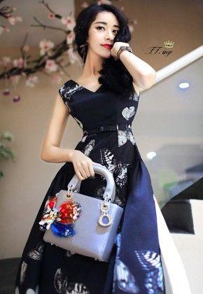 Flower Print Black Dress - Drape In Vogue