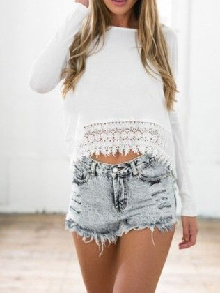White Round Neck Floral Crochet Blouse - She In