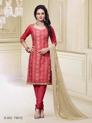 Carrot Red Chanderi Silk Dress Material - Touch Trends Ethnic