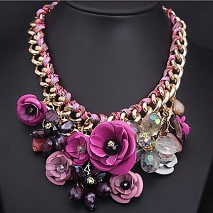 Fashion Gem Stone Big Chunky Rose Flowers Necklace - The Dressing Loft