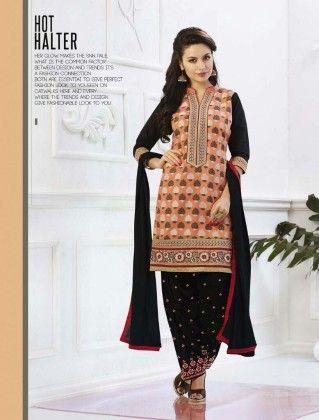 Cotton Patiyala Hot Halter Dress Material - Fashion Fiesta