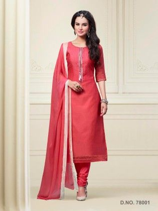 Touch Trends Carrot Red Chanderi Silk Dress Material - Touch Trends Ethnic