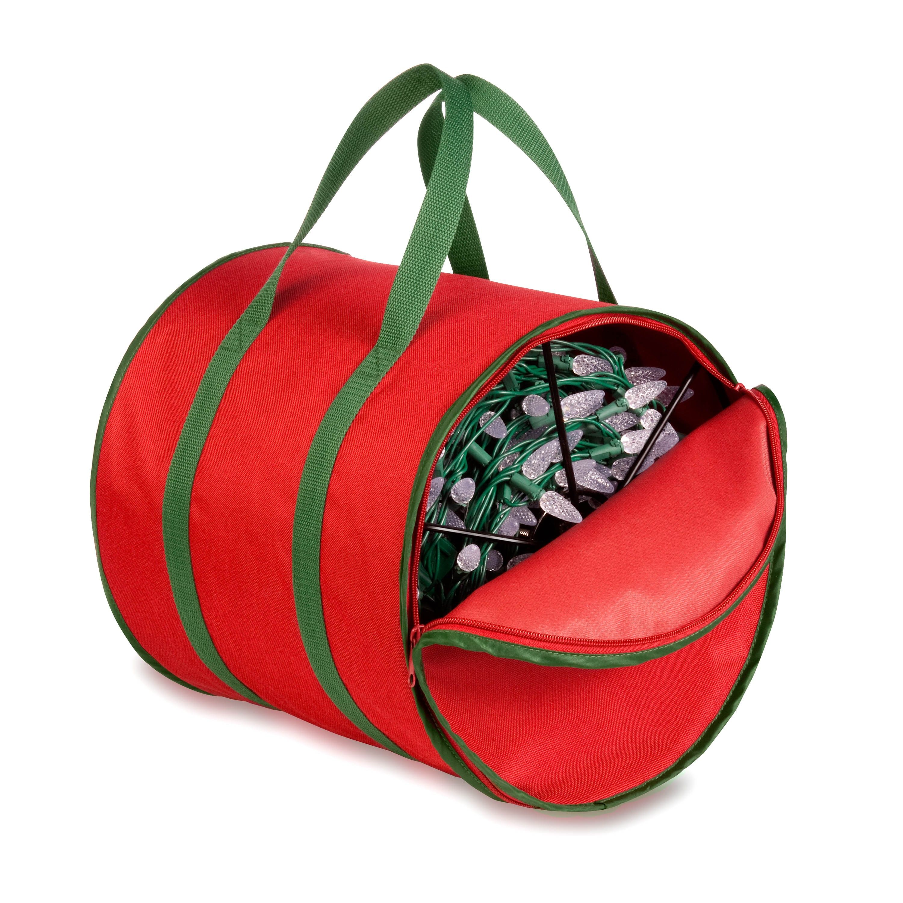 Holiday Light String Storage Reels And Bag- Red & Green - Honey Can Do