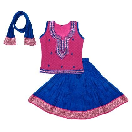Ghagra Choli Set - Pink And Blue - BownBee