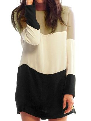 Colour-block Long Sleeve Loose Dress - She In