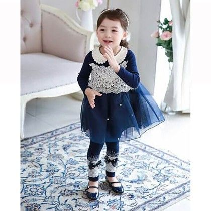 Navy Lace Work Dress - Petite Kids