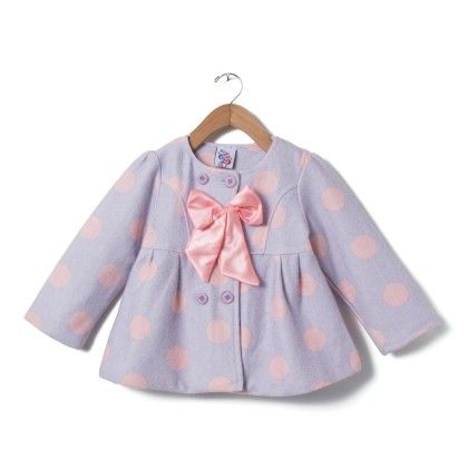 Girls Polka Print Jacket With Bow - Madcute
