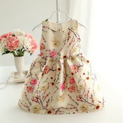 White Autumn Print Frock - Lil Mantra
