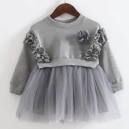 Striped Grey Bow Dress - Petite Kids