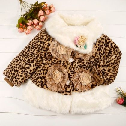Leopard Print Fur Coat With Flower Applique - Chirpy Frost