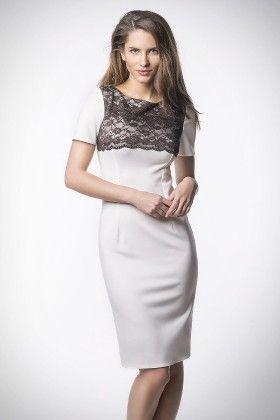 Lace Trim Cocktail Dress Beige - Kartes Moda