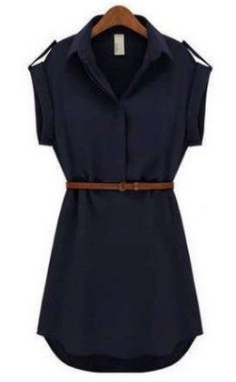 Women Shirt Navy Dress - Dells World