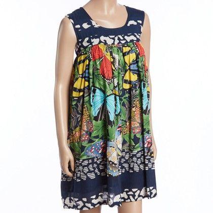Navy And Green Butterfly Babydoll Dress - Women - Yo Baby