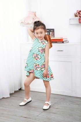 Green Floral Print Striped Dress - Popsicle Kisses