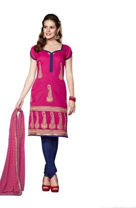Touch Trends Magenta Chanderi Dress Material - Touch Trends Ethnic