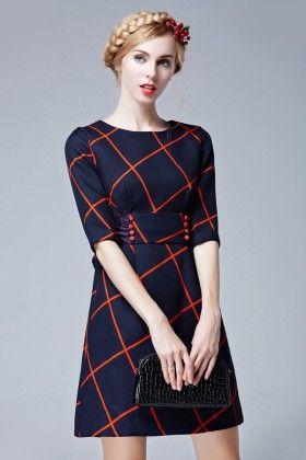 Navy Blue Short Dress - Drape In Vogue