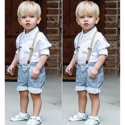 White Shirt And Half Denim Set - Lil Mantra