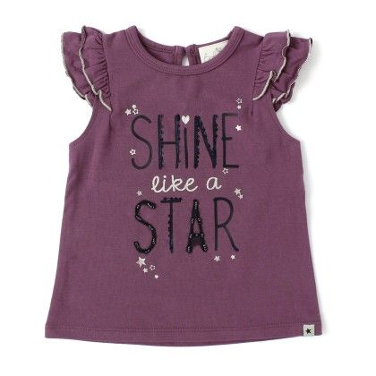 Baby Girls Printed Cap Fancy Sleeve Top - Purple - Babeez