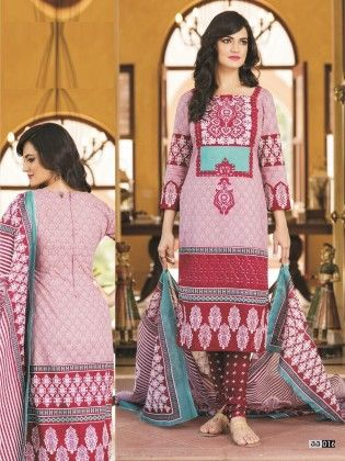 Cotton Printed Pink Dress Material - Fashion Fiesta