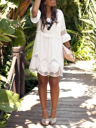 Round Neck Hollow Lace Loose Dress - She In