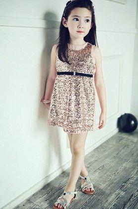 Party Wear Sleeveless Sequined Dress - Pink - Little Dress Up
