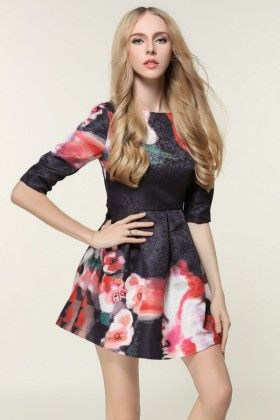 Miini Flower Dress Black - Oomph