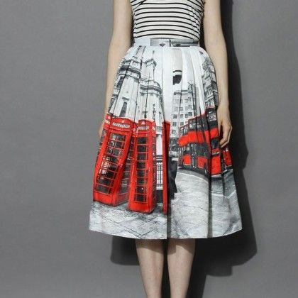 White And Red Print Skirt - Oomph