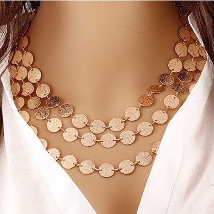 Statement Coin Chain Multi Layer Necklace - The Dressing Loft