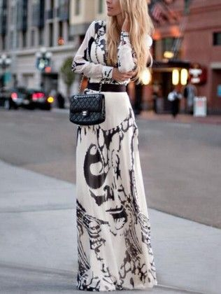Abstract Print Chiffon Maxi Dress - She In
