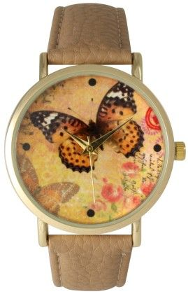Leather Strap Band Watch With Butterfly Face-cream - Vernier Watches