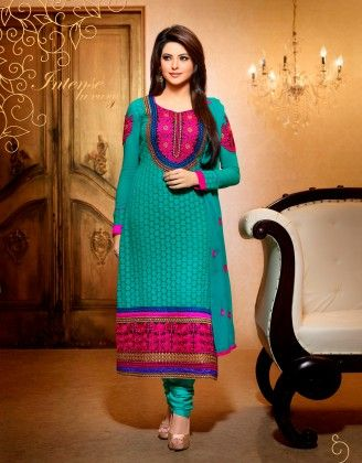 Touch Trends Teal Blue Pure Georgette Dress Material - Touch Trends Ethnic