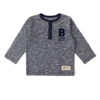 Long Sleeve T-shirt With Print - Navy Melange - Babeez