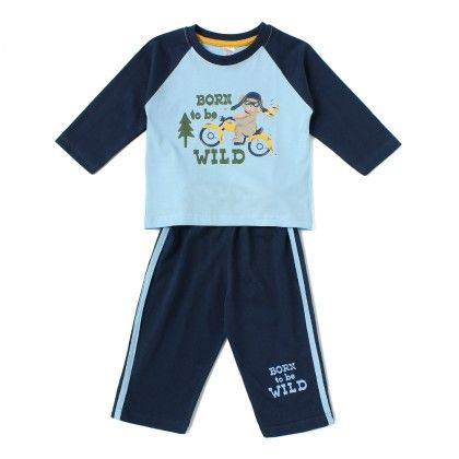 Born To Be Wild Printed Pyjama Set Blue - PINK RABBIT