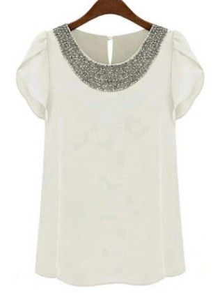White Round Neck With Bead Chiffon Blouse - She In