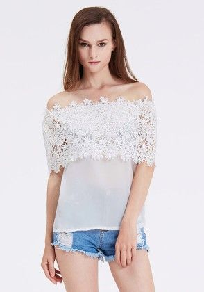 White Off The Shoulder Floral Crochet Lace Blouse - She In