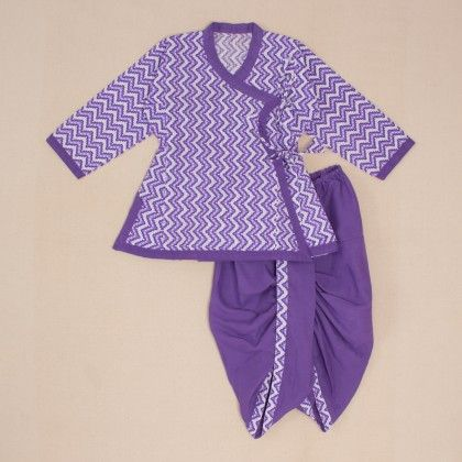 Printed Angrakha Dhoti Set - Purple-white - Little Pockets Store/Pocket Fashion