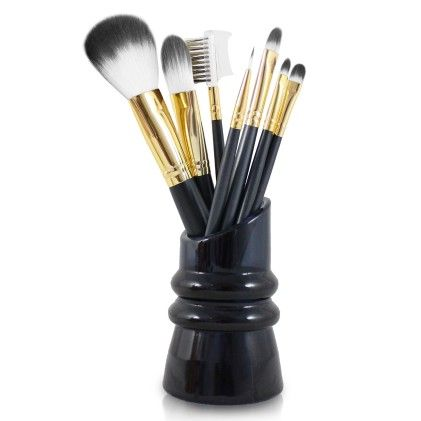 Royal Blossom 7pc Make Up Brush & Holder Set Black - Jacki Design