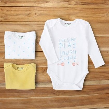 Eat Sleep Play Long Sleeve Onesie Set - Finn & Faye