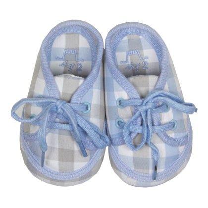 Clara Baby Lace-up Shoes Blue Checks - Chateau De Sable