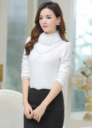 Fur Lace Top For Winter By Mauve - Mauve Collecton - 226194
