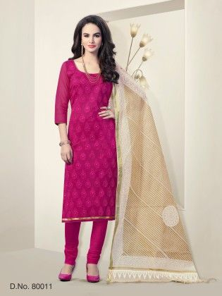 Chanderi Silk Dress Material Magenta - Touch Trends Ethnic